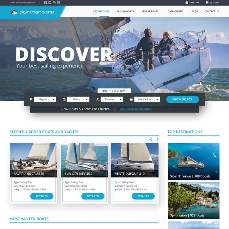 Veb dizajn - Croatia Yacht Charter